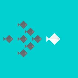 Leadership concept, team leader, fish team follow the big fish concept design vector