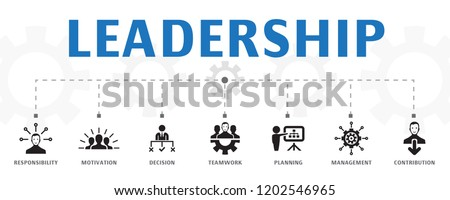 Leadership concept template. Horizontal banner. Contains such icons as responsibility, motivation, communication, teamwork