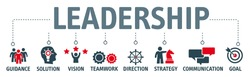 Leadership concept vector illustration with icons