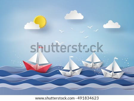 leadership concept with origami made red and white sailing boat.paper art and  digital craft style.