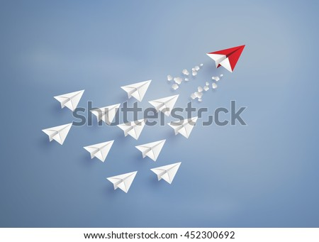 leadership concept with red and white  plane on blue sky.  digital craft and paper art style.