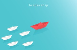 Leadership design concept in business with paper boat symbol. origami boat sailing in blue ocean. Visionary leading team. Paper art style vector illustration