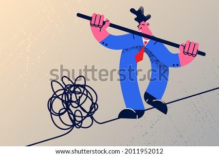 Leadership skill n crisis and solving situation concept. Boss businessman manager solving risky problem leader acrobat walking balancing on danger high rope vector illustration Foto stock ©