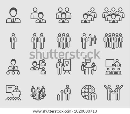 Leadership, Team, Organization, Meeting line icon