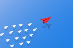 Leadership, teamwork and courage concept, Red paper plane with aircraft shadow for leader and white paper planes flying on sky. vector illustration