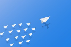 Leadership, teamwork and courage concept, White paper planes with aircraft shadow for leader flying on sky. vector illustration