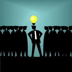 Leadership. Teamwork. Team leader. Have an idea. Innovation, Successful Idea Symbol. Problem solution Concept. Lightbulb creativity. Vector