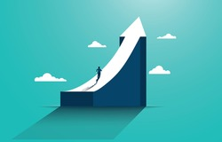Leadership to reach business success. Businessman running to the top of the graph. Business concept of goals, success, ambition, achievement and challenges