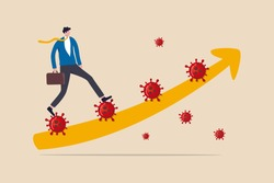 Leadership to solve problem in Coronavirus COVID-19 crisis, walk pass and survive in economic crisis in COVID-19 outbreak, confidence business man leader walk up Coronavirus stair with graph arrow.