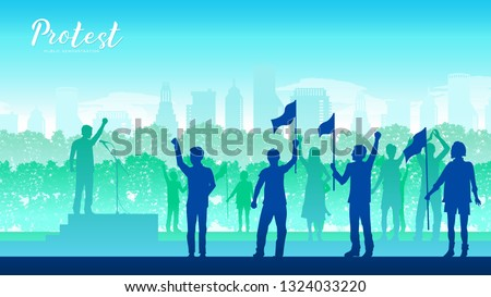 leading a group of demonstrators on road. Protest people crowd. Silhouette crowd of people protesters. Protest, revolution, conflict background landscape demonstrate concept
