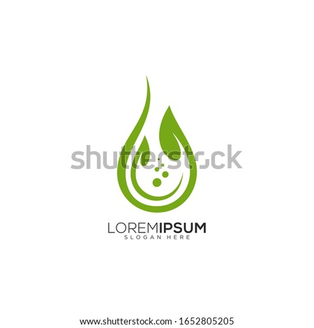 Leaf and clean water drop vector logo design