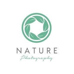 Leaf and Shutter Lens Aperture for Nature Photographer logo design inspiration