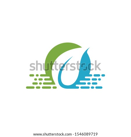 leaf and water flow vector logo