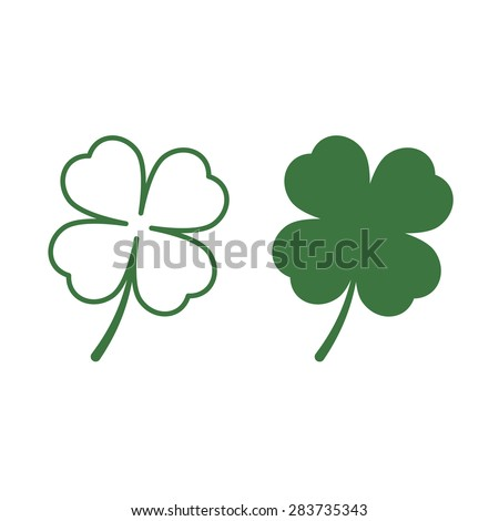 Stock Photo Leaf clover icons. Saint Patrick symbol. Flat and line design style. Ecology concept.
