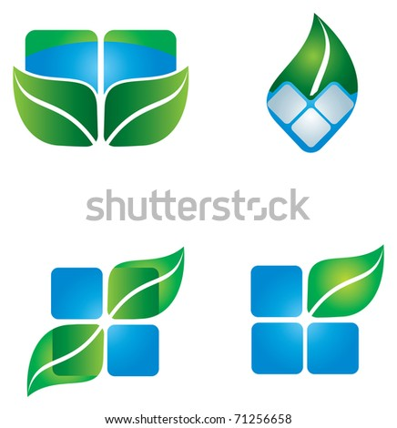 Leaf environmental icon with blue and green shapes