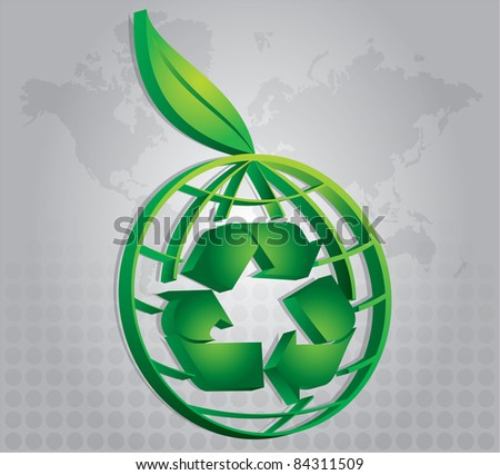 Leaf environmental icon with map and abstract background