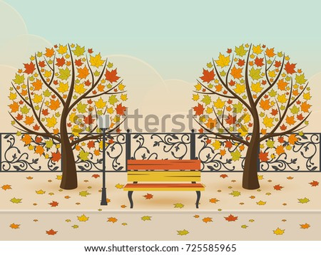 leaf fall in autumn park bench