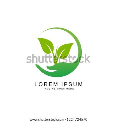 leaf green logo template