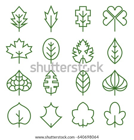 Leaf icons. Collection of abstract, unusual symbols of leaves. Vector illustration. Editable stroke