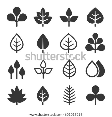 leaf icons set on white