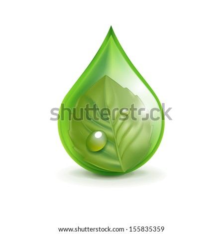 leaf in green droplet isolated