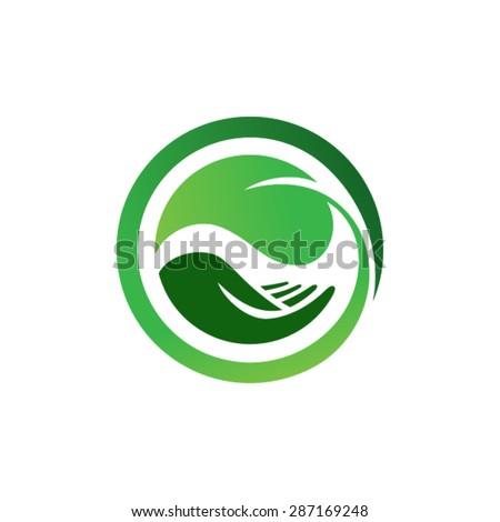 leaf in hand logo organic life