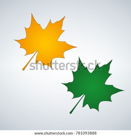 leaf in orange and green colors