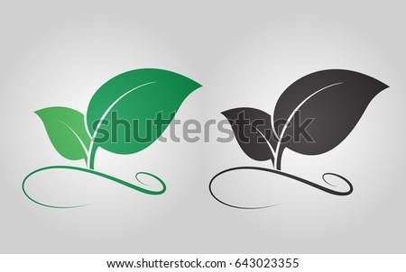 Leaf line Icon vector. logo nature concept