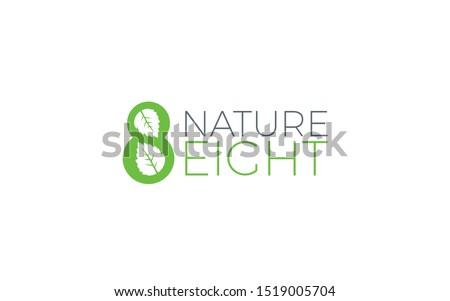 leaf logo formed number 8 with