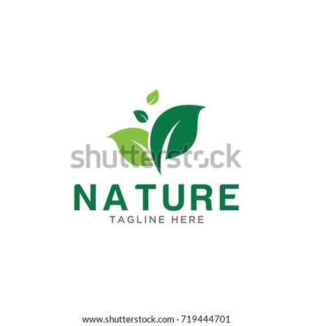 leaf nature design logo template