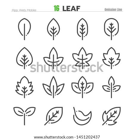 Leaf Outline Icon Set Illustration EPS 10.