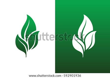 Leaf Pair Icon Vector Illustrations on Both Solid and Reversed Background.