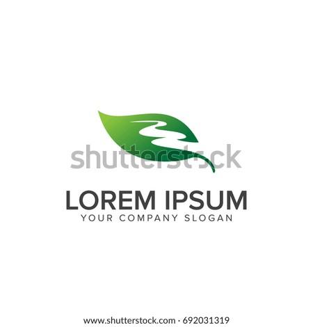 leaf road logo design concept