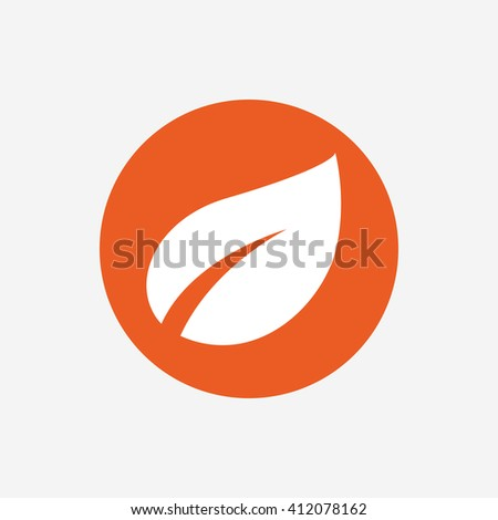 Leaf sign icon. Fresh natural product symbol. Orange circle button with icon. Vector