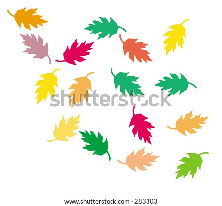 leaf silhouettes in different colors of fall