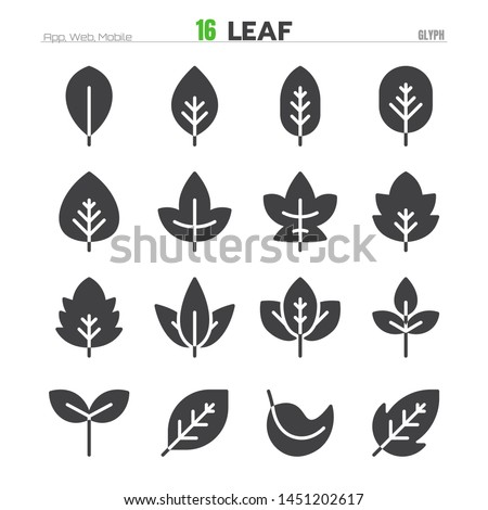 Leaf Solid Glyph Icon Set Illustration Vector EPS 10.