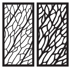 Leaf veins laser cut panel. Set of templates of skeletonized leaves for cutting exterior. Silhouette floral pattern. Die cut cabinet fretwork perforated panel. Metal, paper or wood carving stencil.