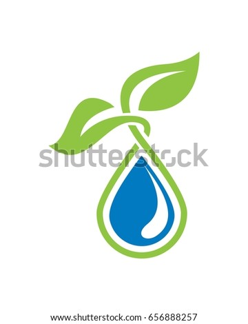 leaf  water logo vector