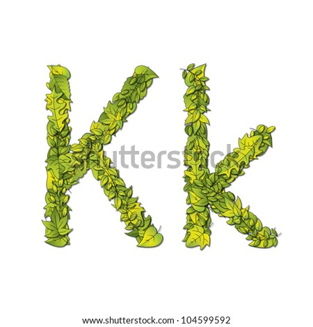 Leafy storybook font depicting a letter K in upper and lower case. Eps10 Vector.