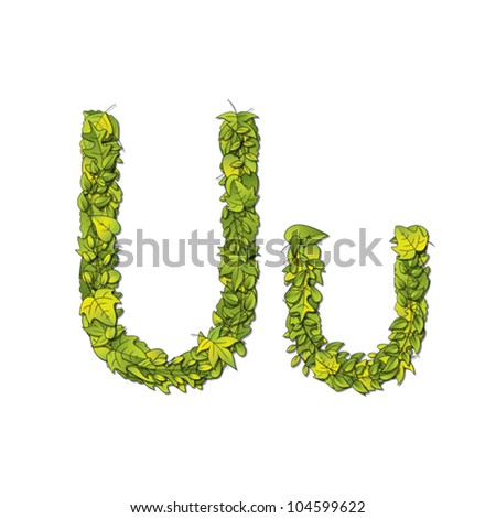 Leafy storybook font depicting a letter U in upper and lower case. Eps10 Vector.