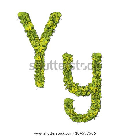 Leafy storybook font depicting a letter Y in upper and lower case. Eps10 Vector.