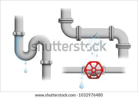 Leaking pipe vector set. Broken water pipeline with leakage, leaking valve, dripping drain illustrations isolated on white. Various realistic depictions of plastic or metal pipe leakages.