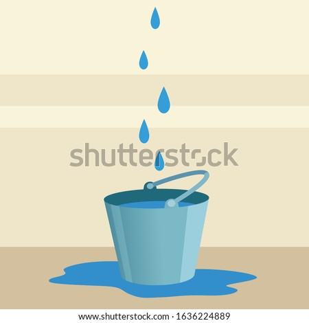 Leaking roof, ceiling. Drops of water are dripping from ceiling into a bucket. The neighbors from the top flooded apartment. Vector illustration, flat cartoon style. Foto stock ©