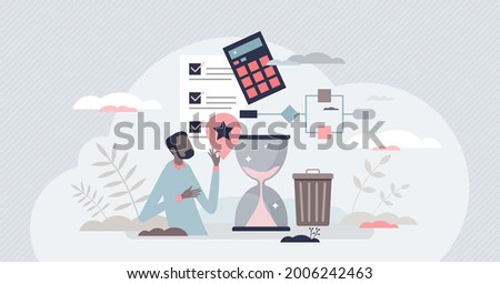 Lean manufacturing cost effective production model tiny person concept. Waste reduction and just in time approach implementation in company management and standards vector illustration. Quality growth Photo stock ©