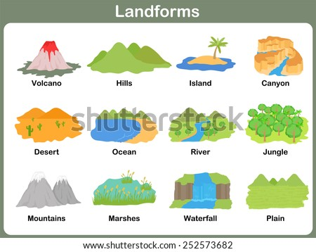Leaning Landforms For Kids - Worksheet Stock Vector 252573682 ...