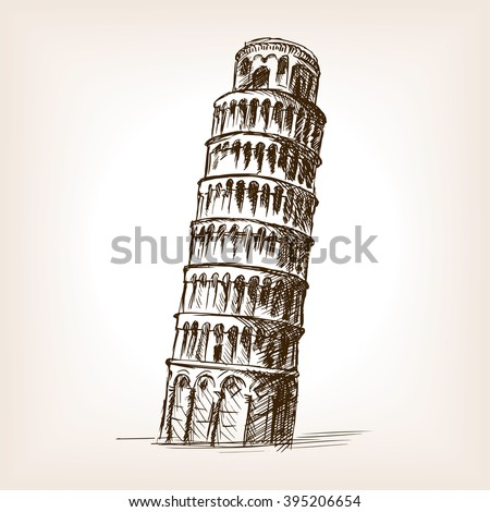 leaning tower of pisa sketch