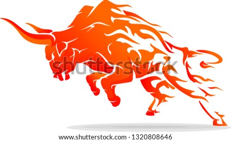 Leaping Bull Rage Fiery Flame Abstract Сток-фото ©