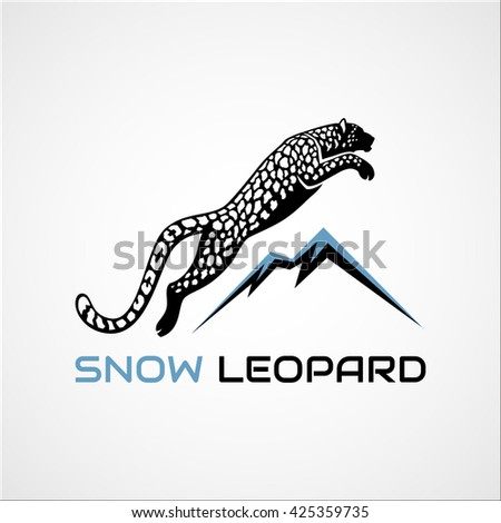 leaping snow leopard and