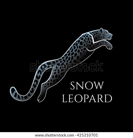 leaping snow leopard logo sign