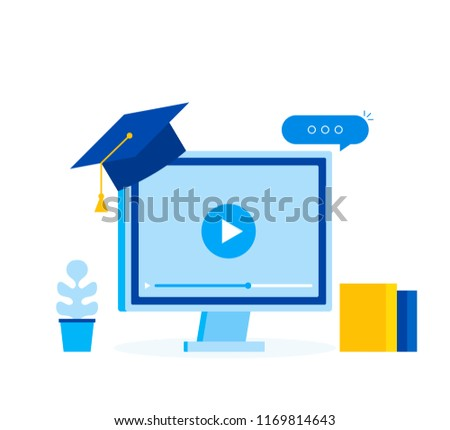 Learing online business concept, elearning education template web banner. Modern flat style vector illustration.